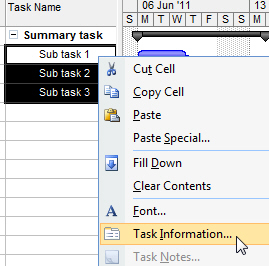 Opening the Task Information dialog box