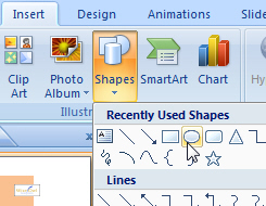 An oval in PowerPoint 2007 or 2010