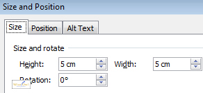 Setting the width and height
