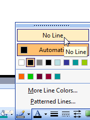 Line options in PowerPoint 2003