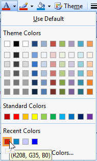 Seeing recently used colours