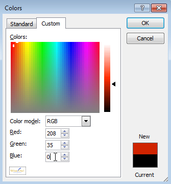 Typing in RGB values