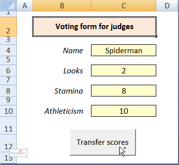 Input form with button to transfer results