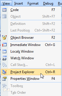 Displaying the Project Explorer and Properties window