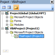 The Project Explorer in Microsoft Projectg