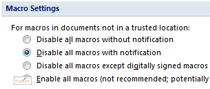 Macro security in Office 2007