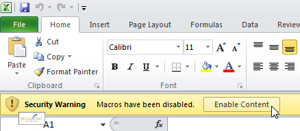 Enabling macros in Office 2010