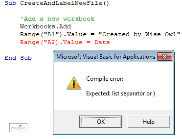 A syntax error in VBA