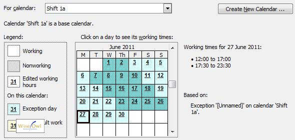 microsoft project calendars