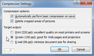The Compression Settings dialog box