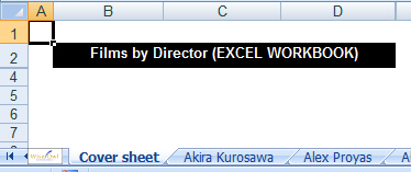 Cover sheet of Excel workbook