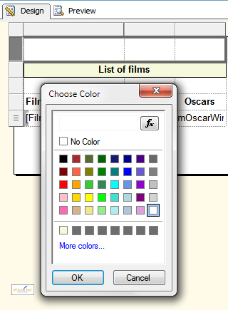 The fill colour dialog box