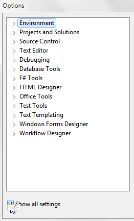 Tools Options - show all settings
