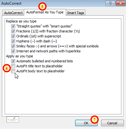 Turning off AutoFit options in PowerPoint 2007