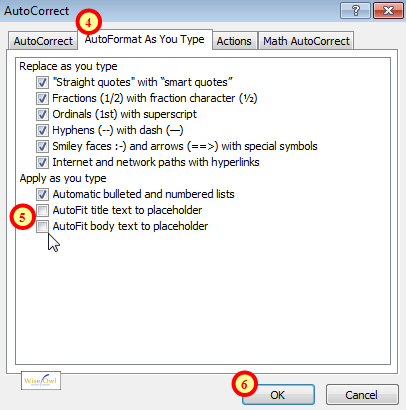 Turning off AutoFit options in PowerPoint 2010