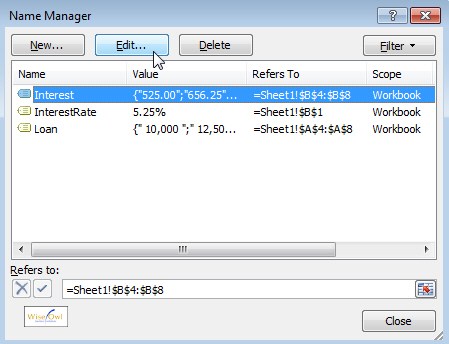 The Name Manager in Excel 2007
