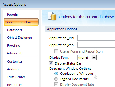 Choosing Overlapping Windows in Access 2007