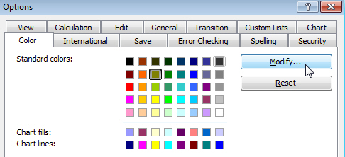 Changing the default colour palette in Excel 2003
