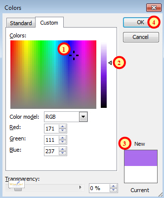 Choosing colours on the Custom tab