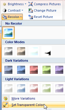 Choosing recolor in PowerPoint 2007