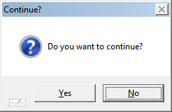 Message box with yes and no buttons