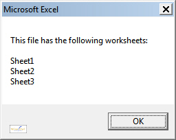 Displaying worksheet names