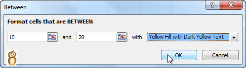 Conditional formatting dialog box