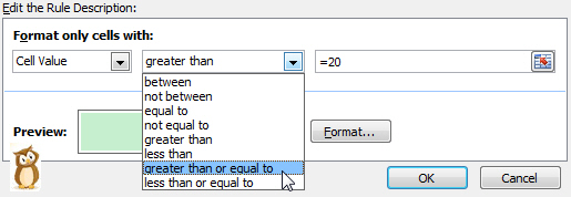 Edit Rule dialog box