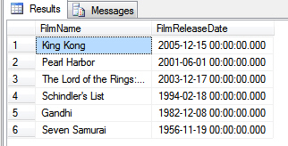 Results of SQL - a list of films