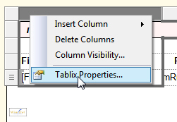 Displaying tablix properties