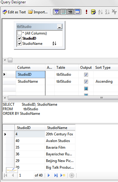 Query listing studio id and name