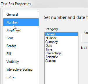 Number format dialog box