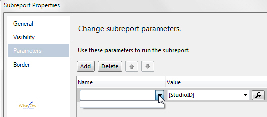 The subreport parameter dropdown