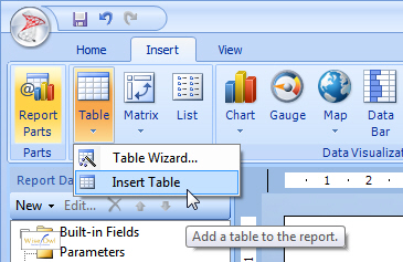 Adding a report item in Report Builder