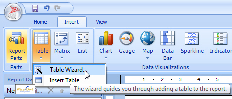 The insert table wizard