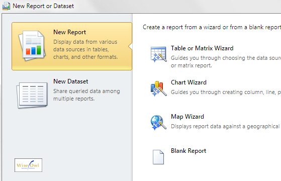 The Report Builder report wizard