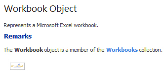 Example of help for workbook object