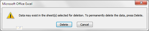 Message when try to delete a worksheet