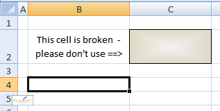 Diagram showing broken cell