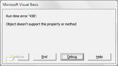 Error message - property or method not supported