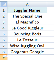 List of jugglers in Excel