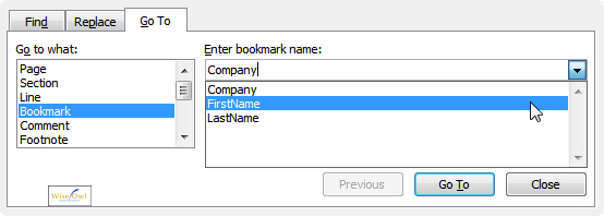 Go to bookmark dialog box