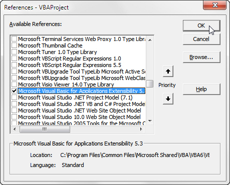The VBA Extensibility library