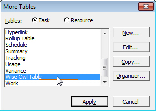 More tables dialog