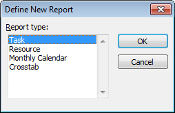 Report type dialog box