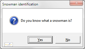 Snowman question message box