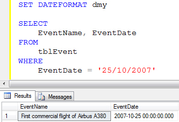 Setting the dateformat