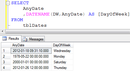 Using DATENAME to get day of week