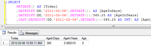 Inaccurate age using DATEDIFF with days
