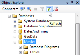 Refreshing the Object Explorer